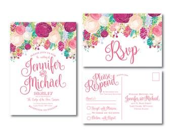 Floral Wedding Invitation and RSVP Postcard Set, Watercolor Floral, Floral Wedding, Flower Wedding, Wedding Invitation, Wedding RSVP #CL145