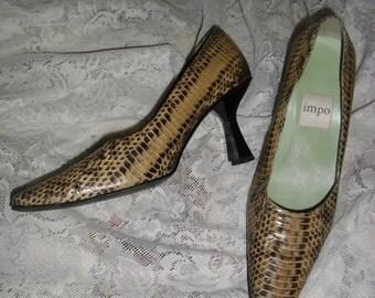 Genuine snakeskin beige shoes, Impo snakeskin shoes