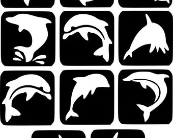 Refill Stencils Only #3 - 11 X Dolphins Glitter Tattoo Stencils Refill Your Glitter Tattoo Kit