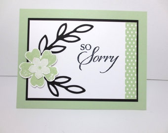 Handmade So Sorry Card: Stampin Up, Sympathy, Condolence, Thoughts and Prayers, Blank Inside