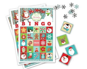 Ho, Ho, Ho! BINGO Game - Let it Snow BINGO - Kid's Printable Bingo Game - Bingo Game for Kids - Christmas Bingo Instant Download