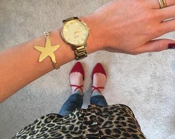 Starfish Cutout Bracelet w/ Gold Chain