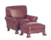 DOLLHOUSE MINIATURE Platinum Collection Mahogany and Red Leather Chair with Ottoman #P3091