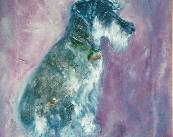 "Schnauzer. Folded Greeting Card 8""x6"" From my original oil painting. Blank for your own message."