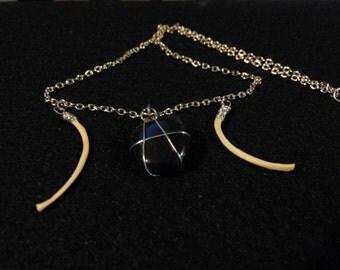 Goddess Necklace   Bone Jewelry   Onyx Necklace   Pagan Jewelry