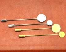 10 Sets Raw Brass /White K Stick Pin Clutch - Brooch - 10mm/15mm pad size with 70mm-75mm long -G1855