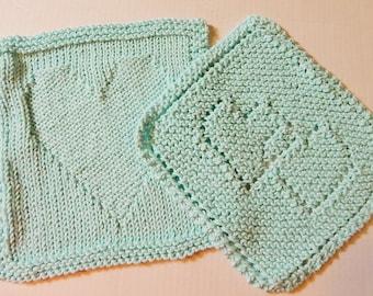 Blue Dishcloths, Hand Knit Dishcloths, Hearts Dishcloths, Robin's Egg Blue, Cotton Dishcloths, Knitted Dishcloths, Dishcloth Set