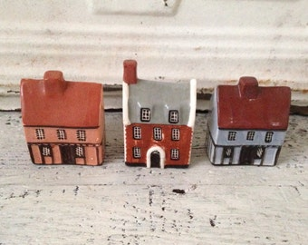 Set of 3 Miniature Hand Painted Houses made by Muden End Studios, Felsham Suffolk, England