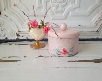 Vintage Pink Powder Tin, Hand-painted, Shabby Chic Decor