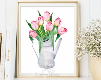 Floral art tulips Bouquet Wall hanging print Fine art artwork wedding gift baby shower gift family room poster Printable Rustic Decor 3-101