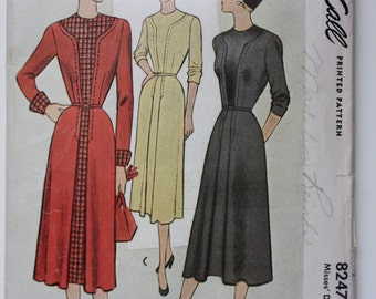 Vintage 1950's Pattern McCall 8247 - Tailored Dress
