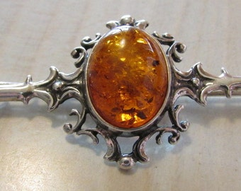 Sterling Silver and Amber Pin