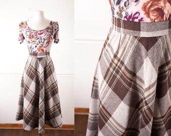 Vintage Plaid Skirt | Wool Skirt High Waisted Skirt Vintage 70s skirt Secretary Skirt Brown Skirt Fall Fashion 80s Skirt Retro A Line Skirt