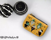Mid Century Monster Coin Purse, Classic Monster Small Pouch, Card Pouch, Zipper Wallet