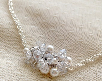 Swarovski Crystal, Silver and Pearl Cluster Necklace