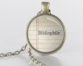 Bibliophile Quote Necklace - Book Lover Necklace - Reader Jewelry - Bookish - Librarian Gift (B9094)