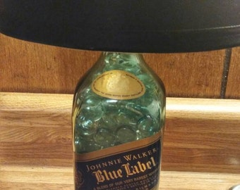 Lamp. Johnnie Walker blue label lamp. Accent table lamp. Liquor lamp.  Bottle lamp. Upcycled bottle lamp. Bottle lights. ***Free S&H***