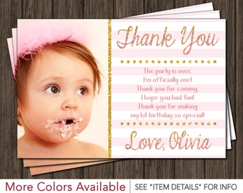 Pink and Gold Thank You Card - Birthday Thank You Card