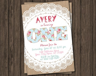 Floral Chic First Birthday Invitation - Floral Chic Burlap 1st Birthday Invitations