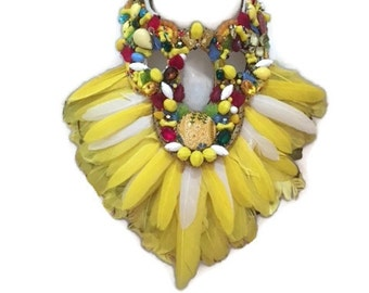 MELLO YELLO yellow feather fringe huge super statement statement bib collage necklace