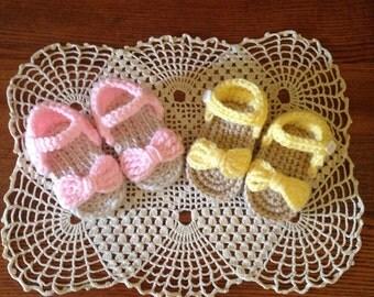 Crochet Baby Sandals~Baby Crochet Sandals~Crochet Baby Shoes~Pink Baby Sandals~Yellow Crochet Sandals~Baby Girl Crochet Sandals~ Baby Shoes