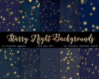 Starry Starry Night Digital Paper Backgrounds, Celestial Digital Paper, Gold Stars Midnight Scrapbook Paper, Star Patterns, Night Sky paper