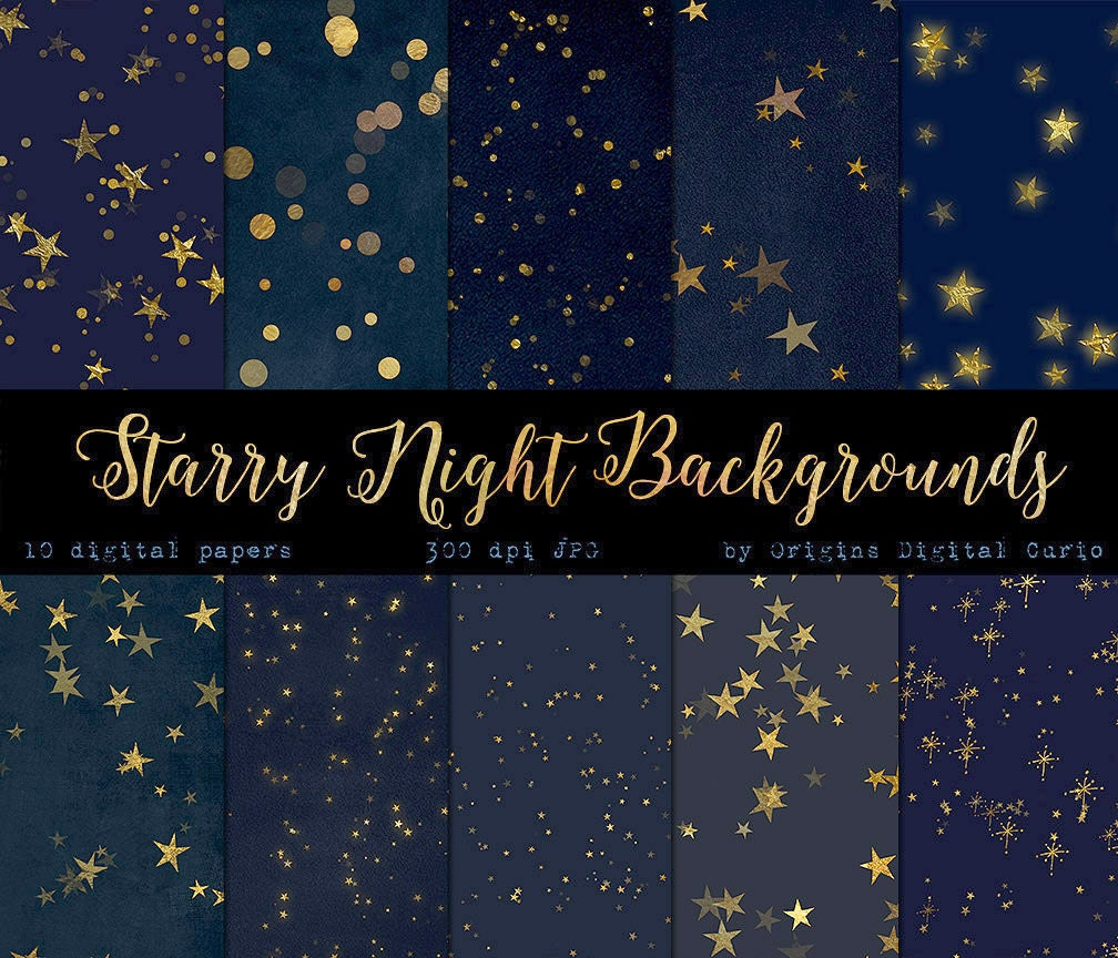 Starry starry night digital paper backgrounds celestial digital paper
