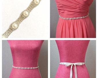 pink rhinestone and pearl bridesmaid dress