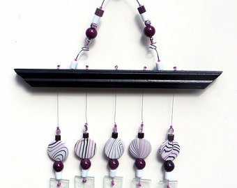 Stained Glass Wind chime,  Art Deco style, Black, Violet, Windchime, Swirled Beads, V1003