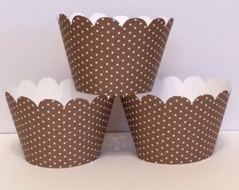Brown and White Polka Dot Cupcake Wrappers, Party decorations, cupcake holders, party supplies, cupcake wraps, cupcake sleeves, paper goods