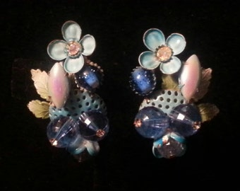Unique Vintage Floral Beaded Cluster Clip On Earrings