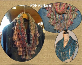 Instant PDF Download - Becky B's Crocheted Fringed Infinity Scarf