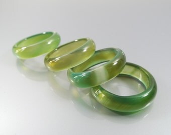 Green Agate Ring/ Agate Band Ring/ green Ring/ Solid Gemstone Ring