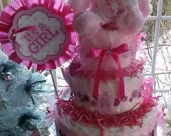 Baby girl Pink 3 Tier Diaper Cake