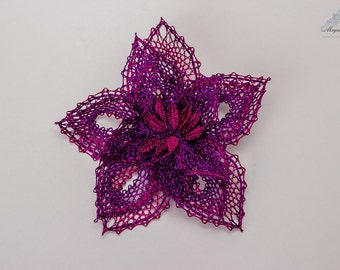 "Bobbin Lace Brooch ""Violet""Russian bobbin lace handmade"