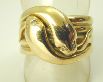 Antique Edwardian double Snake ring diamond 18ct gold 1902 size W 19.8g