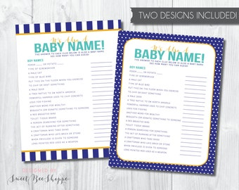"Baby Name Game: ""It's Also a Baby Name"" Baby Boy Baby Shower Game; Shower Game for Baby Boy; Baby Boy Shower Game; Baby Name Game 2 Designs"