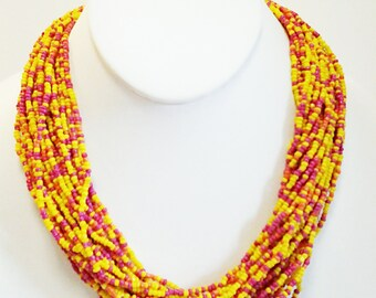 Yellow, Orange and Hot Pink Multi Strand Beaded Necklace / Bib Necklace.