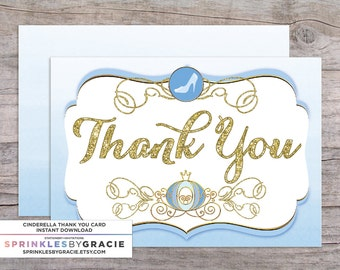 Instant Download Cinderella Thank You Cards PDF