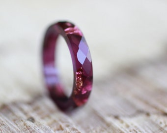 Resin Ring Ruby Ring Resin Ring Red Tourmaline Resin Ring