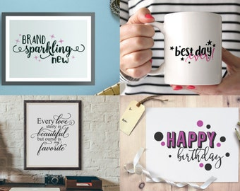 Cricut SVG - Cutting Files - Brand Sparkling New - Best Day Ever - Happy Birthday - Every Love Story - SVG Bundle - Silhouette - Cut Files