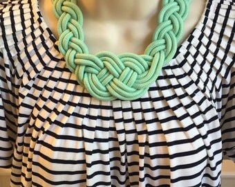 Mint Green Seafoam Green Nautical Knotted Rope Sailor Knot Statement Braided Necklace