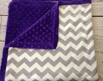 Baby Blanket,Baby Girl Blanket,Purple Minky Dot,Gray,Handmade Chevron Blanket,Baby Shop,Baby Minky Blanket, Purple  Blanket, Baby Gifts