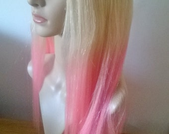 Human hair wig, blonde to pink dip dye U part 3/4 hair addition- extension- Medium, 200g+, 22 inches long