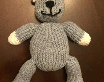 Hand knit teddy bear