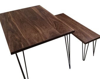 American Black Walnut Table with Hairpin Legs