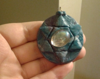 Blue Mottled Star of David Pendant with Glass Oval