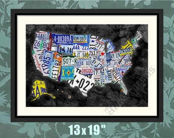 License Plate Map Etsy - Us liscense plate map