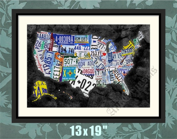 US License Plate Map All States License Plates Print - Us licence plate map