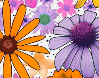 "Summer Flower Power Floral Tissue Paper  # 227 -- 10 Large Sheets - 20"" x 30"""